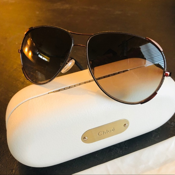 f9a2dce81b9 Chloe Accessories - Chloe EUC CE100SL Nerine Brown Leather Sunglasses